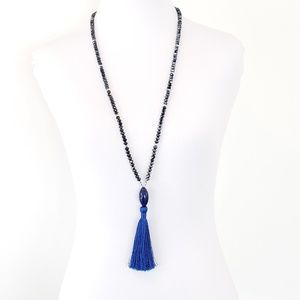 Long Necklace Crystal Beads Royal Blue Tassel